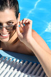 Happy woman on summer in pool Stock Photos