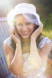 Happy woman in the summer season Royalty Free Stock Photos