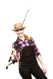 Happy woman in sun hat holding fishing rod Royalty Free Stock Photos