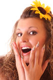 Happy woman with sunflower in hair isolated Royalty Free Stock Images