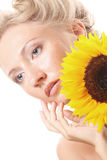 Happy woman with sunflower Royalty Free Stock Image