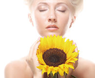 happy woman with sunflower Stock Images