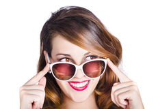 Happy woman in sunglasses Stock Images