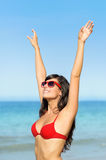 Happy woman with sunglasses summer tan Stock Image