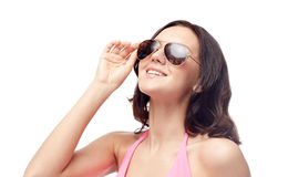Happy woman in sunglasses and swimsuit Stock Photo