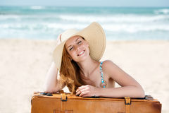 Happy Woman In Sunhat With Suitcase At Beach Stock Photos