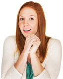 Happy Woman in Suspense Stock Photography