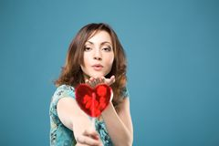 Happy woman with sweet heart stock image