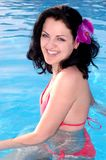 Happy woman in swimming pool Royalty Free Stock Photos