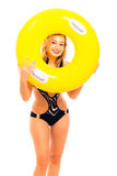 Happy woman in swimsuit with rubber ring Royalty Free Stock Image