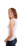 Happy woman in t-shirt and jeans smile Stock Photography