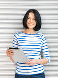 Happy woman with tablet pc computer Royalty Free Stock Photo