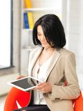 Happy woman with tablet pc computer Stock Photo