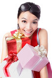 Happy woman take big gift Stock Photography