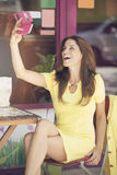 Happy woman taking a selfie Stock Photos