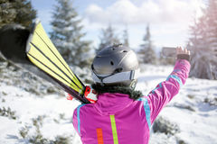 Happy woman taking selfie on winter mountain Royalty Free Stock Photo