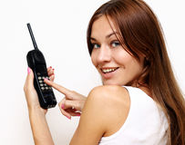 Happy woman talking on cell phone Stock Photography