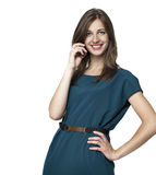 Happy woman talking on cell phone Stock Image