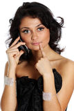 Happy woman talking on cell phone Stock Images