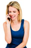 Happy woman talking on mobile Royalty Free Stock Photos