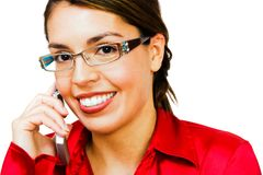 Happy woman talking on mobile Stock Photography