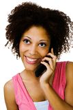 Happy woman talking on mobile Royalty Free Stock Images