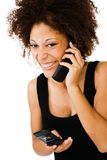 Happy woman talking on mobile Royalty Free Stock Photo