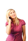 Happy Woman talking on a mobile Phone Royalty Free Stock Photo