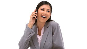 Happy woman talking on the phone Royalty Free Stock Photos