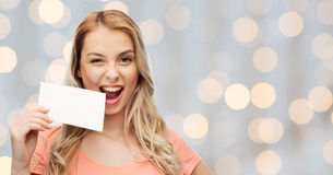 Happy woman or teen girl with blank white paper Stock Photography