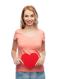Happy woman or teen girl with red heart shape Stock Photos