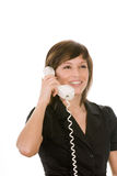 Happy woman with telephone Royalty Free Stock Images