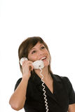 Happy woman with telephone Royalty Free Stock Photo