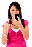Happy woman text messaging Royalty Free Stock Photos