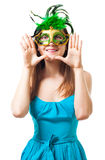 Happy woman in theater mask Royalty Free Stock Image