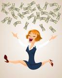 Happy woman throw money. Royalty Free Stock Photography