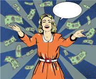 Happy woman throw money. Vector illustration in retro pop art style. Speech bubble Royalty Free Stock Photo