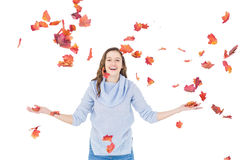 Happy woman throwing leaves Royalty Free Stock Photos