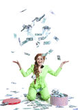 Happy woman throwing money Royalty Free Stock Photo