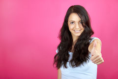 Happy woman with thumb up Royalty Free Stock Photography