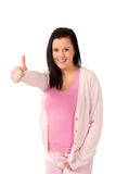 Happy woman thumbs up Stock Photos