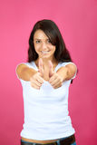 Happy woman with thumbs up Royalty Free Stock Photography