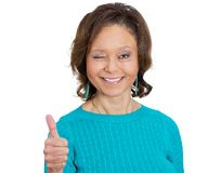 Happy woman, thumbs up Royalty Free Stock Photo