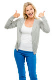 Happy woman thumbs up isolated on white background. Happy mature woman showing thumbs up sign Stock Image