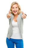 Happy woman thumbs up isolated on white background Stock Photography