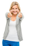 Happy woman thumbs up isolated on white background Stock Photos