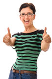 Happy woman thumbs up Royalty Free Stock Photos
