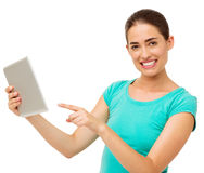 Happy Woman Touching Digital Tablet Over White Background Stock Photography