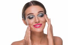 Happy woman touching her face royalty free stock photos