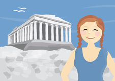 Happy woman tourist near Acropolis of Athens. In Greece Royalty Free Stock Image